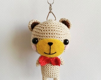 Crochet Bear, Amigurumi Bear Crochet Doll, Bear Charm, Bear Keychain, Cute Keychain, Kawaii Keychain, Valentines Gift Ideas, Gift for Him