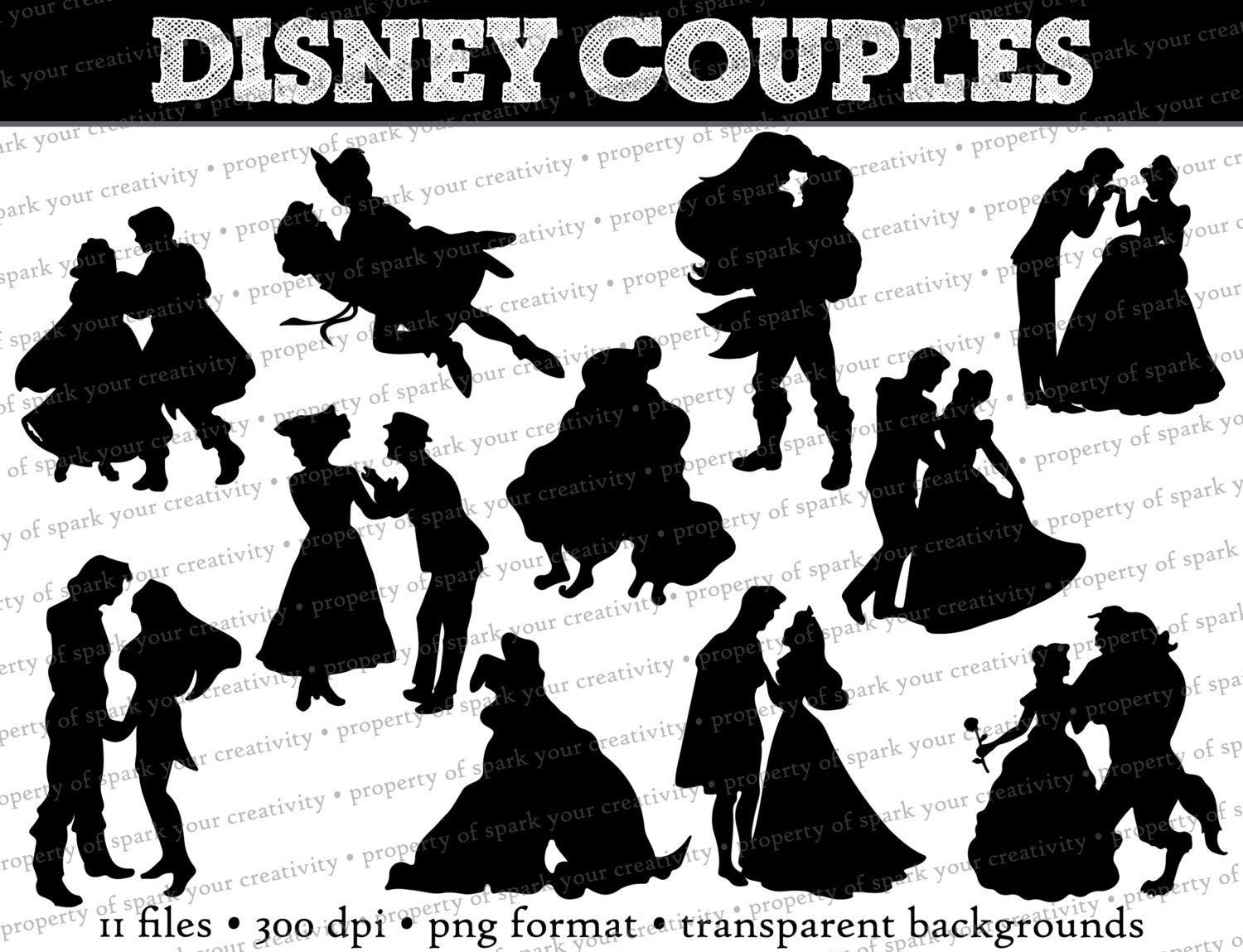 Disney Princess and Prince Silhouettes // Disney Couples