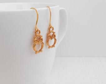 Clearance SALE - Gold owl earrings, Owl charm earrings