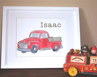 Children's Wall art print - Old Red Pickup Truck Art Print with Personalized Name and Color for Nursery or Boy's Room Decor