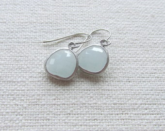 Pastel Blue Dangle Earrings, Silver Dainty Modern Earrings