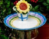 Sunflower Garden Totem Stake, Butterfly Feeder, Birdfeeder