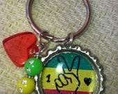 Bottlecap Keychain  Peace Keychain Green Yellow Red