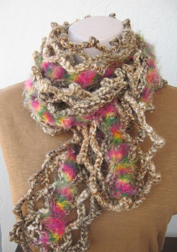 Crocheted long scarfScarf with multi colored by HUCHIDESIGNS
