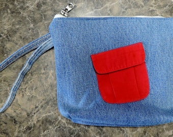 Lined Blue Denim Wristlet / Make Up bag with Outside & Inside Pocket. Recreated by Carolyn, made from all upcycled materials.