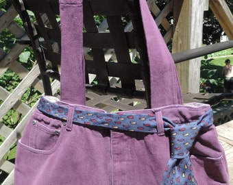 Large Lined Purple Purse / Handbag / Tote Bag, Handmade from Upcycled/ Recycled Pants, Inside Completely Lined w/ Pockets