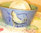 Denim Blue and Sage Green Cat Yarn Bowl