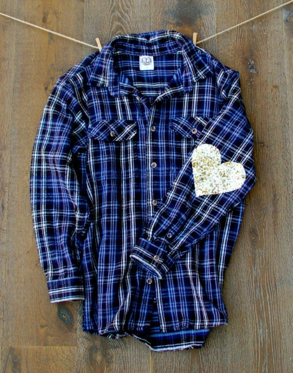 Sequin heart elbow patch flannel the boyfriend dazzle for Mens flannel shirt with elbow patches