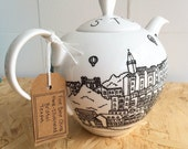 Bristol hand-illustrated, fine bone china teapot