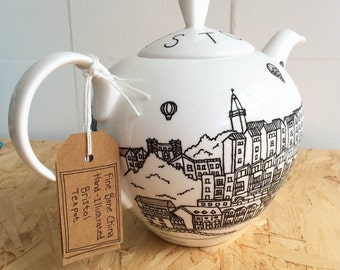Bristol hand-illustrated, fine bone china teapot