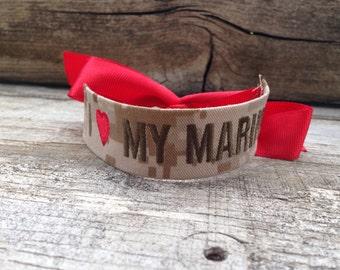 Marine Wife / Marine Girlfriend / Marine Mom / I Love My Marine / Name Tape Bracelet / desert camo / USMC /  Marine Corps