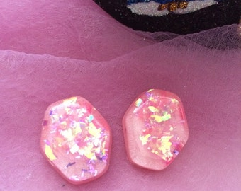 Pink Glitter and Opalescent Confetti Lucite Earrings