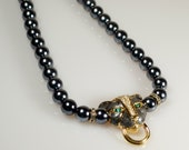 Kenneth Lane Necklace, Vintage Statement KJL for Avon Faux Pearl Enamel Rhinestone Panther Necklace Book Piece