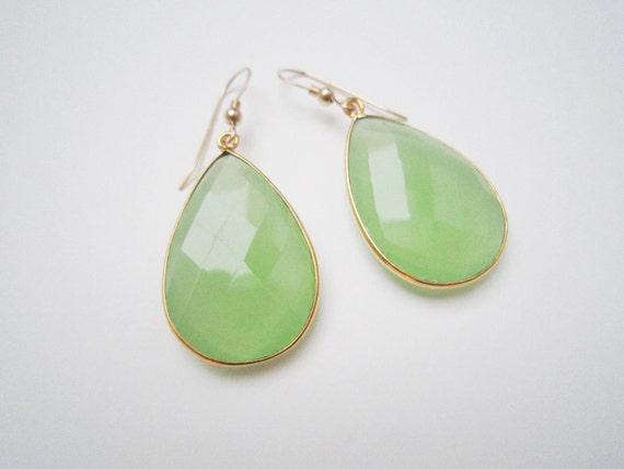 Large light green chalcedony gemstone earrings green chalcedony gold