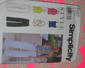 Simplicity 9107 Misses Knit top and Pants Sewing Pattern - UNCUT - Sizes 6 - 16