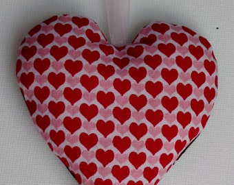 Fabric Heart, handmade,pink, red and brown