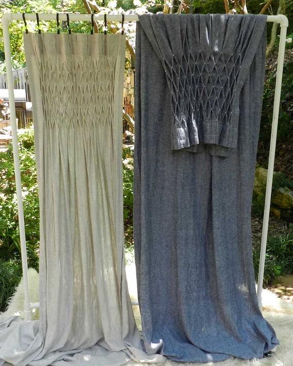 Smocked Linen Curtain Drapery Linen Hand Smocked Panel