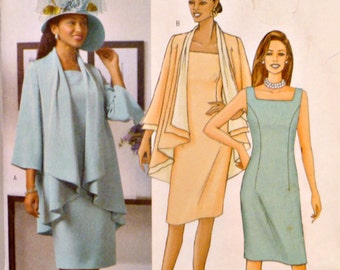 Slim Sheath Dress Sleeveless Sewing Pattern Loose Fitting Jacket Asymmetrical Front Butterick B4387 Size 8 10 12 14 Uncut Factory Folds