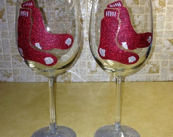 Red Sox wine glasses