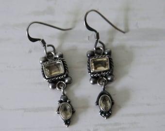 Sterling Silver Balinese Citrine Earrings