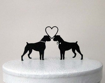 Wedding Cake Topper - Boxer Dogs wedding cake topper
