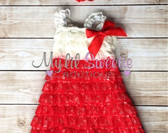 2 PC set, Red ivory lace dress and headband or clip, special occasion dress, holiday dress, toddler dress, girls dress,