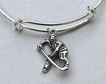 Personalize CHOOSE Initial / Birthstone - Hockey Player Charm Bangle - Charm Bracelet - Women's Hockey, Hockey, Gift For Her , Under 20 , 58