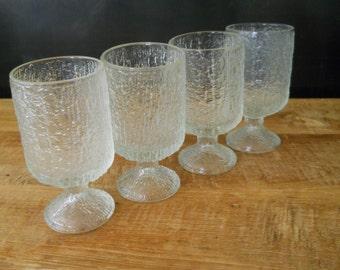 Mid Century Ice Textured Pedestal Glasses