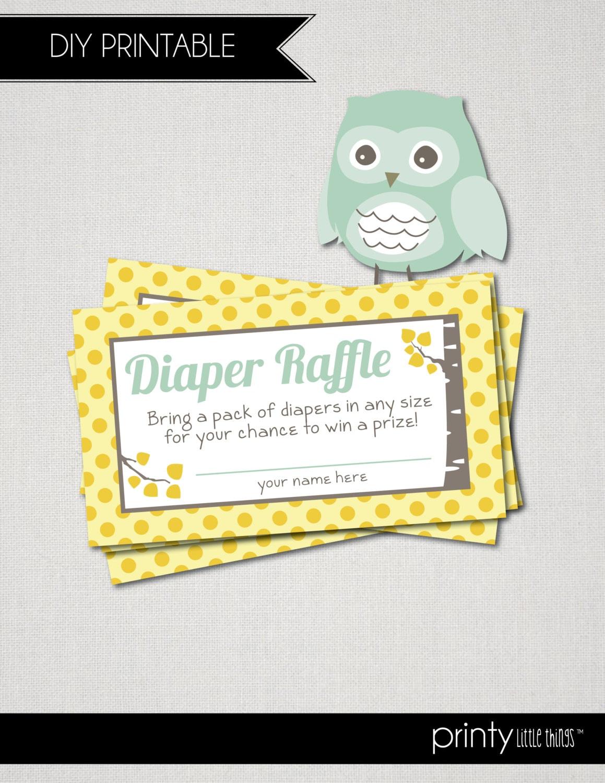 owl birch baby shower diaper raffle tickets digital file