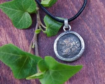 Silver Coin Necklace - Zeus - Greek Mythology God - 925 Sterling Silver