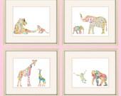 baby girl nursery prints, safari nursery wall art, girl nursery decor, elephant nursery decor, elephant art, giraffe, jungle nursery, baby