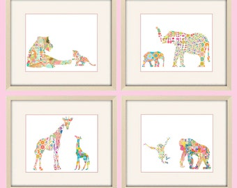 Baby girl Nursery Art, baby animal art, Elephant art, Baby Animal Nursery Decor, Jungle nursery wall art, set of four prints, kids wall art