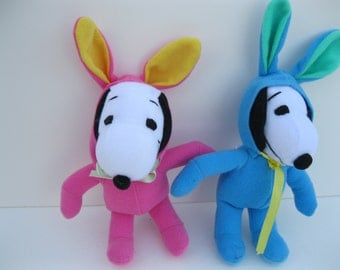 TWO Vintage PEANUTS Snoopy Dogs in Bunny Suits