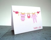 Baby Girl Thank You Cards - Baby Shower Thank You Cards - Set of 12