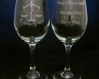Lawyer Good Day Bad Day Wine Glass valentines day gift, Birthday gifts, Lawyer gifts