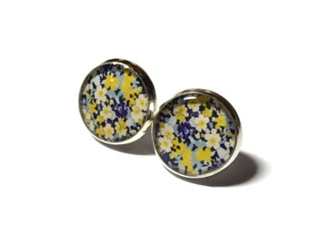 Yellow and Navy Blue Liberty Floral Resin Silver Post Earrings