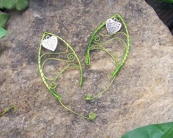 Elf Ear Cuffs - Shamrock Heart Swirls - Elven Jewelry - Irish Jewelry - Fairy Ear Wraps