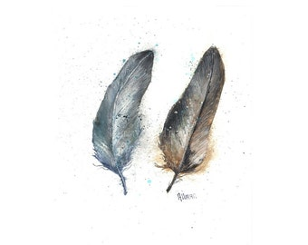 Original Feather Watercolor Print, Watercolor Feather Painting, Feather Series Two Feathers, Turkey Feathers