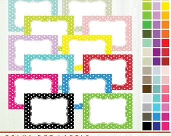 Polka Dot Labels & Journal Squares - 45 Labels  and PDF Clip Art ClipArt Scrapbooking Commercial - G7237