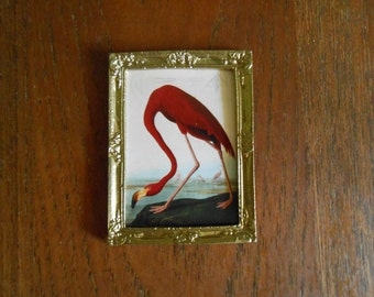 Miniature Audubon American Flamingo print in gold frame