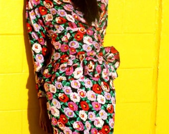 SALE...80's..Peggy Bundy Silk Floral Peplum Split Dress...Free Shipping