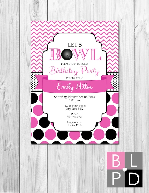 Bowling party invitation stripes pink white and black for Dots and stripes party theme