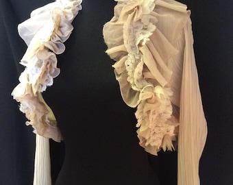 Victorian style Latte/Champagne shaded Bolero Shrug Chiffon Long Sleeves.