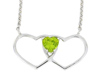 1 Ct Peridot Double Heart Pendant .925 Sterling Silver Rhodium Finish