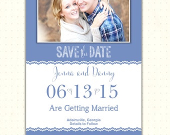 Save the Date Card, photo, announcement, engagement, invite, wedding, blue, country, digital, printable, magnet  WSD1490