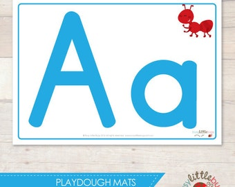 Alphabet Playdough Mats in Blue AUTOMATIC DOWNLOAD
