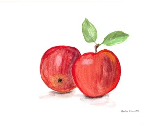 Red apples, original painting, watercolour painting, apples art, red fruits art, 12 x 9 inch