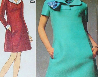 RETRO Simplicity 8446 Vintage 60s Sewing Pattern Mod Twiggy Yoked Dress,Scarf Designer Pattern Airline Stewardess Style Size 10 UNCUT