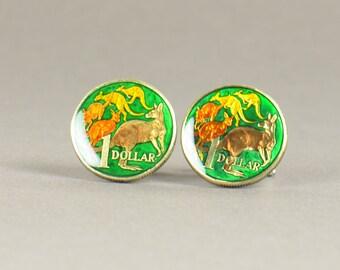 Cufflinks Australia enamel Kangaroo Coin