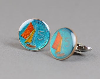 Cufflinks Gambia ship enamel Coin